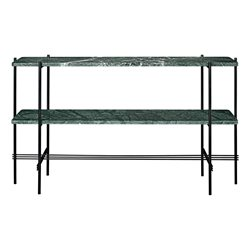 Gubi Ts Console, 120X30x72, Black Base, 2 Racks Green Marble