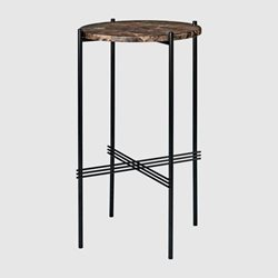 Gubi Ts Console - Round, Ø40, Black Base Brown Marble