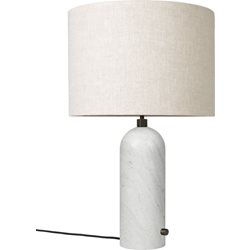 Gubi Gravity Bordslampa Small White Marble/Canvas Shade